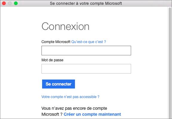 Entrez les informations d'identification de votre compte Microsoft pour accéder aux services associés à votre compte.