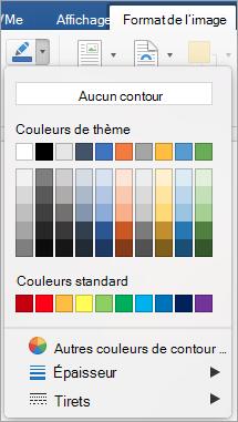 Le menu et bouton de bordure d'image