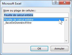 Boîte de dialogue Microsoft Excel dans Word