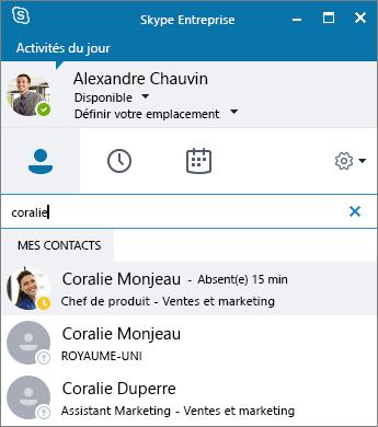 Capture d'écran de la fenêtre Skype Entreprise lors d'une recherche de contact à ajouter.