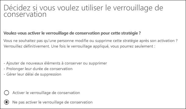Page Verrouillage de conservation