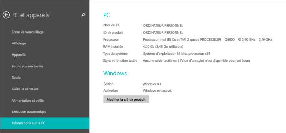 Page d'informations sur le PC dans Paramètres du PC