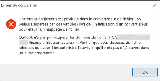 Voici le message d'erreur que vous recevez lorsque le fichier .csv est vide.