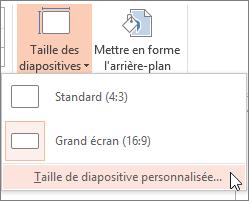 Option de menu Taille de diapositive personnalisée