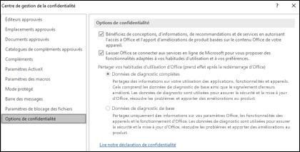 La section Options de confidentialité des paramètres du Centre de gestion de la confidentialité dans Office pour Windows