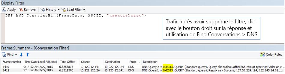 Trace filtrée par les options Find Conversations, puis DNS