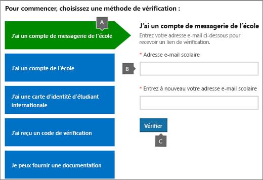 Page Vérification académique.