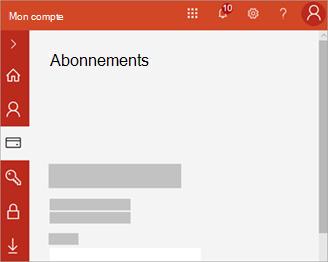 Capture d'écran du portail mon compte