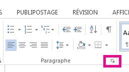 Vous pouvez ouvrir la boîte de dialogue Paragraphe en cliquant sur l'icône Développer.