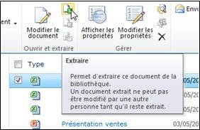 Ruban SharePoint avec sélection de l'icône «Extraire»