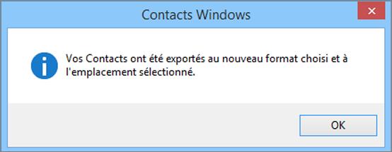 Un message confirmant que vos contacts ont été exportés dans un fichier CSV apparaît.