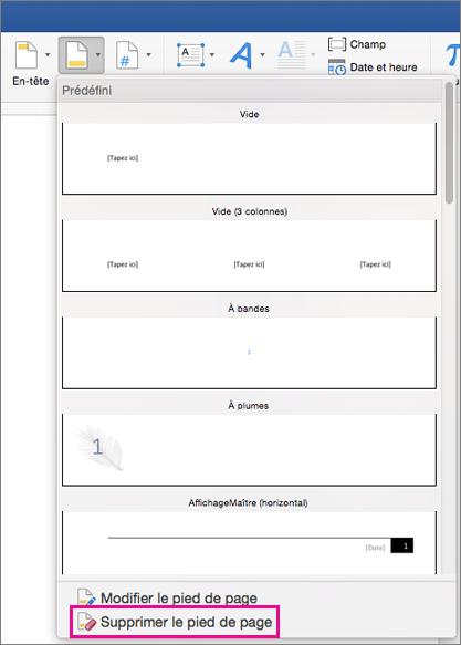 Dans le menu de pied de page, supprimer un pied de page est mise en évidence