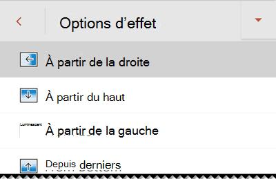 Options d'effet dans PowerPoint pour les téléphones Android.