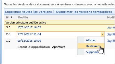 Le contrôle de version déroulante sur le fichier avec restaurer mis en surbrillance