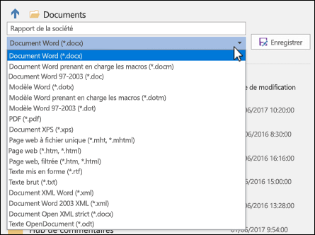Cliquez sur la liste déroulante du type de fichier pour sélectionner un autre format de fichier pour votre document