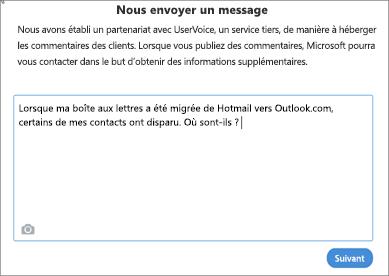 Exemple de ce que vous pouvez écrire pour nous indiquer qu'une partie de vos contacts est manquante.