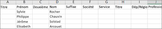 Exemple de fichier .csv Outlook ouvert dans Excel
