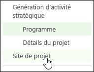 Site de projets dans le menu de lancement rapide