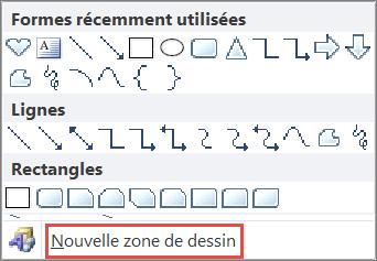 Option Nouvelle zone de dessin dans Word2010