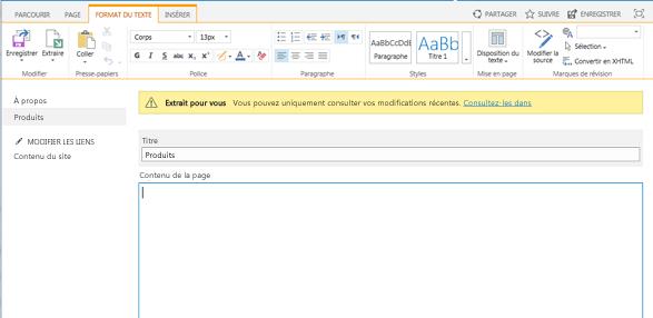 Capture d'écran d'une nouvelle page de publication avec une barre jaune indiquant que la page est extraite