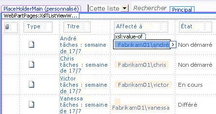 Affichages de liste SharePoint Designer
