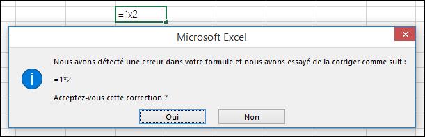 Message invitant à remplacer x par * dans une multiplication
