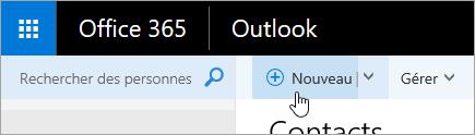Capture d'écran du curseur pointant sur le bouton Nouveau dans la page Contacts.