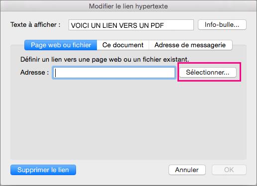 Boîte de dialogue Insérer un lien hypertexte dans PowerPoint2016 pour Mac