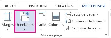 Options d'orientation de page