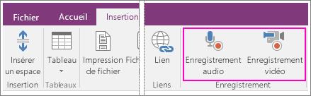 Capture d'écran du menu Insertion avec les boutons Audio/Vidéo dans OneNote2016