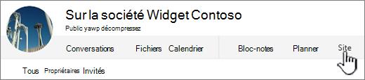 Menu de groupes de personnes Office 365, avec Site mis en surbrillance