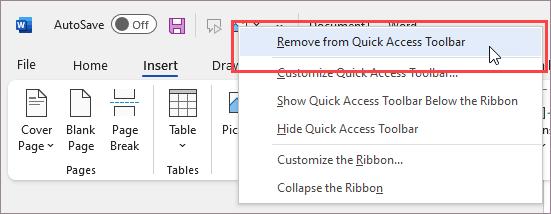 Commande Supprimer de la barre d'outils Accès rapide