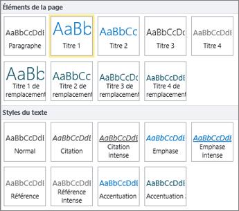 Les éléments de page et styles de texte sont disponibles dans le groupe Styles sur le ruban SharePoint Online.