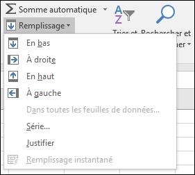 Options d'accueil de remplissage > Modification > remplissage