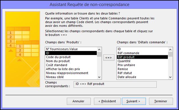 Sélectionnez les champs correspondants à partir des tables de la boîte de dialogue Assistant Requête de non-correspondance.