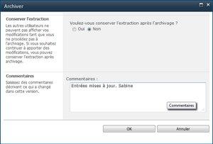 Boîte de message qui apparaît lorsqu'un fichier est archivé