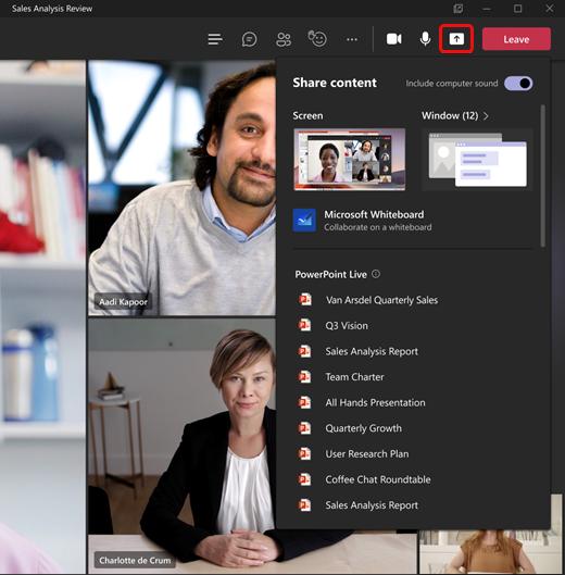 Nouveau partage de contenu dans une réunion