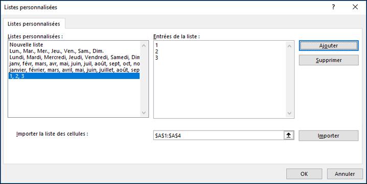 Ajoutez manuellement des éléments de liste personnalisée en tapant dans la boîte de dialogue Modifier la liste personnalisée et en appuyant sur Ajouter