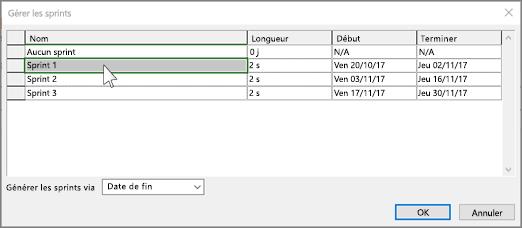 Capture d'écran de la boîte de dialogue Gérer sprint