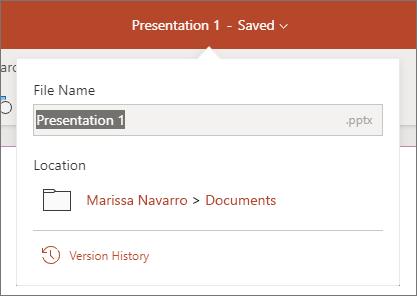 Cliquez sur le nom du fichier au centre de la barre de titre en haut de la fenêtre du navigateur.