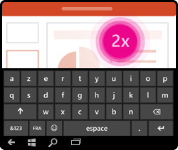 Mouvement d'activation du clavier dans PowerPoint pour Windows Mobile