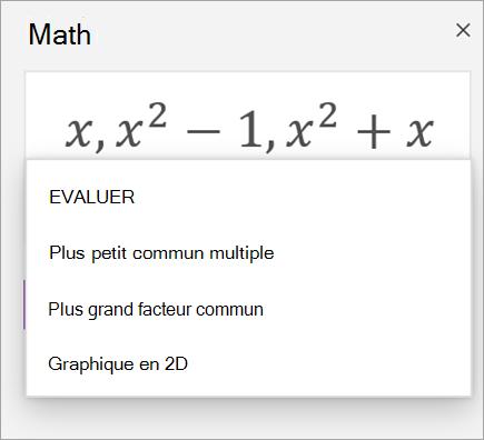 Liste de tableaux dans l'Assistant mathématique