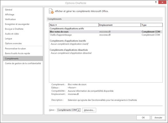 Gérer le volet compléments Office avec un bloc-notes OneNote pour la classe sélectionné. Section pour gérer les compléments COM avec le bouton OK.