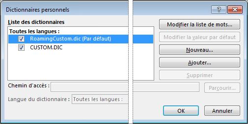 Boîte de dialogue Dictionnaire personnel