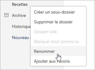Capture d'écran du menu contextuel Dossiers avec l'option Renommer sélectionnée