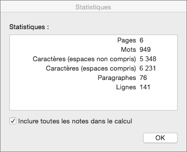 Boîte de dialogue Statistiques