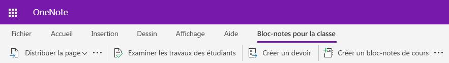 Onglet de capture d'écran de bloc-notes de cours dans OneNote Web App