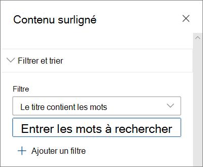 Les options de filtre pour le composant WebPart contenu en surbrillance dans l'interface SharePoint moderne
