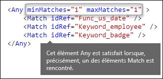 Balisage XML montrant l'élément Any avec les attributs minMatches et maxMatches