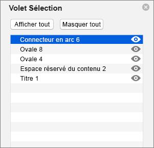 Volet Sélection dans PowerPoint2016 pour Mac